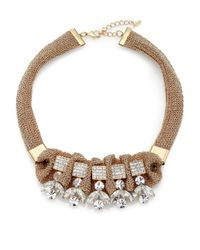 ABS By Allen Schwartz | Metallic Box Of Jewels Drama Mesh Necklace | Lyst