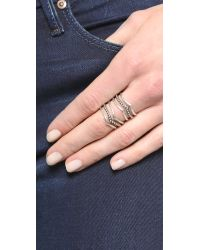 Sunahara | Metallic Statement V Ring - Silver | Lyst