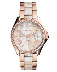 Fossil - Metallic 'cecile' Resin Link Crystal Bezel Bracelet Watch - Lyst