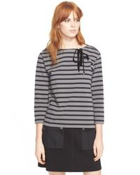 Marc By Marc Jacobs | Black Lace-up Stripe Boatneck Top | Lyst