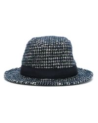 Tagliatore - Blue Houndstooth Fedora Hat for Men - Lyst