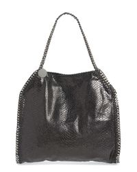 Stella McCartney - Black 'small Falabella' Snake Embossed Faux Leather Tote - Lyst