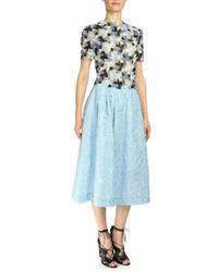 Erdem - Blue Imari Cloque Midi Skirt - Lyst