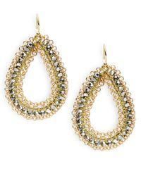 Panacea | Metallic Beaded Teardrop Earrings | Lyst