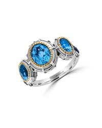 Effy | 925 Sterling Silver, 18k Yellow Gold, Sapphire And Blue Topaz Ring | Lyst