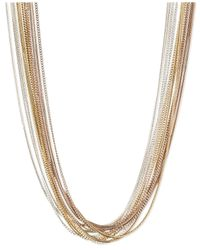 Nine West | Metallic Tri-Tone Multi-Chain Collar Necklace | Lyst