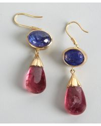 Amrapali - Metallic Tanzanite and Pink Tourmaline Drop Earrings - Lyst