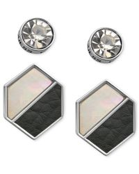 Guess - Earring Set, Silver-Tone Round Crystal And Black And White Hexagon Stud Earrings - Lyst