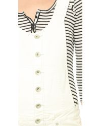 Free People - White Century Button Front Shortalls - Willow - Lyst