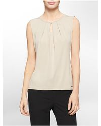 Calvin Klein - Natural White Label Keyhole Pleated Neck Sleeveless Top - Lyst