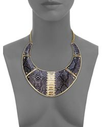 ABS By Allen Schwartz - Black Snakeskinprint Faux Leather Collar Necklace - Lyst