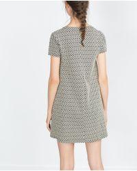 Zara | Natural Jacquard Dress | Lyst
