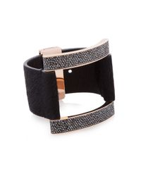 Henri Bendel - Black Starlet Haircalf Buckle Cuff Bracelet - Lyst