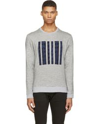 Public School - Gray Grey Marled Knit Applique Sweatshirt for Men - Lyst