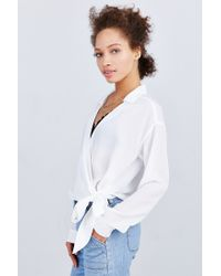 Lucca Couture | White Surplice Side-tie Blouse | Lyst