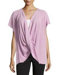 Natori - Purple Draped Short-sleeve Ribbed Sweater - Lyst