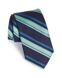 Ted Baker | Blue 'ground Stripe' Silk & Cotton Tie for Men | Lyst