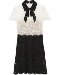 Valentino - Black Pussy-Bow Lace Mini Dress - Lyst
