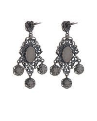 Bottega Veneta - Metallic Classic Oxidised-silver Intrecciato Drop Earrings - Lyst