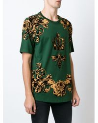 Dolce & Gabbana - Green Crown And Bee Print T-shirt - Lyst
