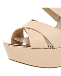 River Island - Light Pink Strappy Heeled Platforms - Lyst