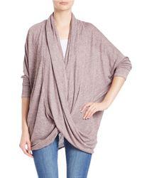 Free People | Pink Knit Surplice Sweater | Lyst