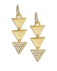 Lauren by Ralph Lauren | Metallic Triangle Drop Earrings | Lyst
