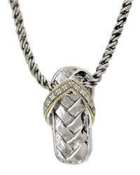 Effy - Metallic Pave Classica 14k White Gold Diamond Medallion Pendant Necklace - Lyst