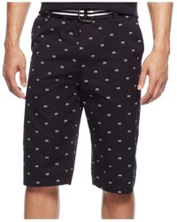 Sean John | Black Printed Flat-front Belted Shorts for Men | Lyst