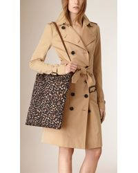 Burberry - Brown Animal-Print Cotton Shoulder Bag - Lyst