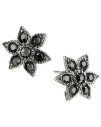 2028 | Metallic Silver-tone Hematite Star Post Earrings | Lyst