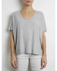 INHABIT | Gray Fine Gauge Cocoon Top | Lyst