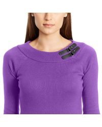 Pink Pony - Purple Buckled-tab Cotton Sweater - Lyst