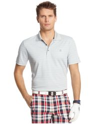 Izod - Gray Striped Jacquard Performance Polo for Men - Lyst