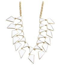 Kenneth Jay Lane | White And Gold Enamel Geometric Bib Necklace | Lyst