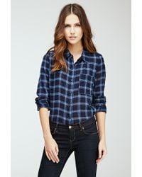 Forever 21 - Blue Plaid Button-down Shirt - Lyst