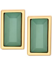 T Tahari | Gold-tone Rectangle Green Crystal Stud Earrings | Lyst