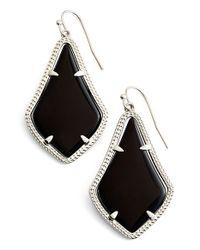 Kendra Scott | 'alexandra' Agate Drop Earrings - Rhodium/ Black Opaque Glass | Lyst