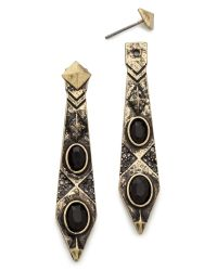 House of Harlow 1960 - Gypsy Feather Earrings Goldblack - Lyst