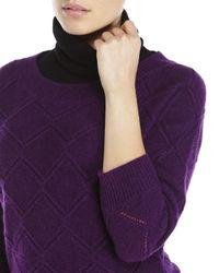 Qi - Purple Diamond Knit Sweater - Lyst