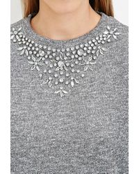 Forever 21 - Gray Rhinestone Marled Sweatshirt - Lyst