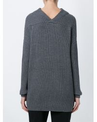Dorothee Schumacher   Gray Long Ribbed Sweater   Lyst