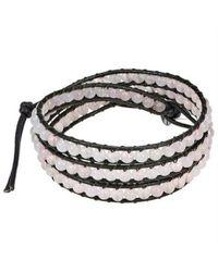 Aeravida - White Light Pink Muse Rose Quartz Gemstone Tribal Wrap Leather Bracelet - Lyst