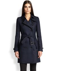 Burberry Brit - Blue Bramington Double-breasted Trenchcoat - Lyst