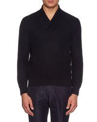 Ermenegildo Zegna - Blue Shawl-neck Silk-blend Sweater for Men - Lyst
