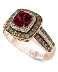 Le Vian | Red Raspberry Rhodolite Garnet (1 Ct. T.w.) And White And Chocolate Diamond (3/4 Ct. T.w.) Square Statement Ring In 14k Rose Gold | Lyst