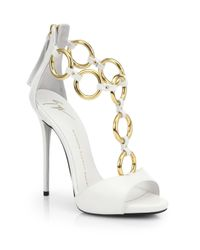 Giuseppe Zanotti | White Leather Chainstrap Sandals | Lyst