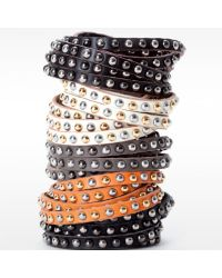Linea Pelle | Brown Double Wrap Mixed Stud Bracelet | Lyst