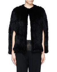 H Brand - Black 'stella' Rabbit Fur Knit Cape Jacket - Lyst