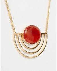 ASOS | Metallic 70s Sunset Stone Necklace | Lyst